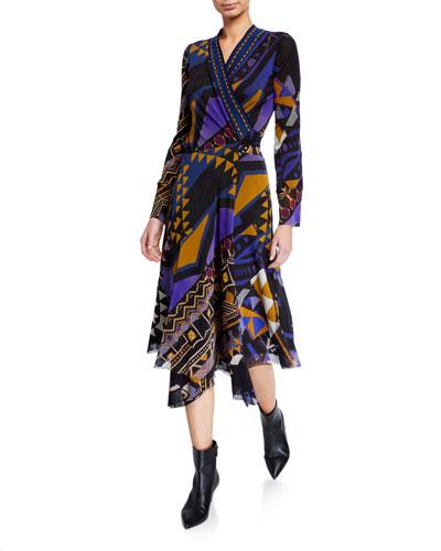 Printed Long-Sleeve Asymmetrical Wrap Dress