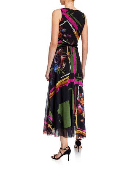Mixed Print V-Neck Sleeveless Midi Dress