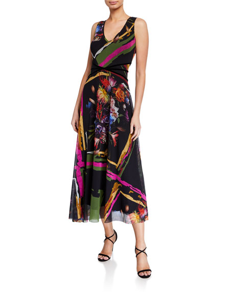 Image 1 of 1: Mixed Print V-Neck Sleeveless Midi Dress