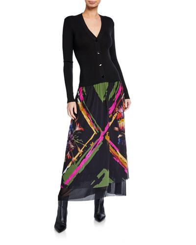 V-Neck Button-Front Printed Patchwork Floral Maxi Dress