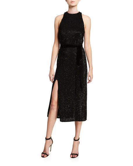 Tilly Shimmer Ribbed Midi Dress by Retrofete