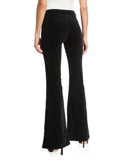 Valentina High-Rise Flare Velvet Pants
