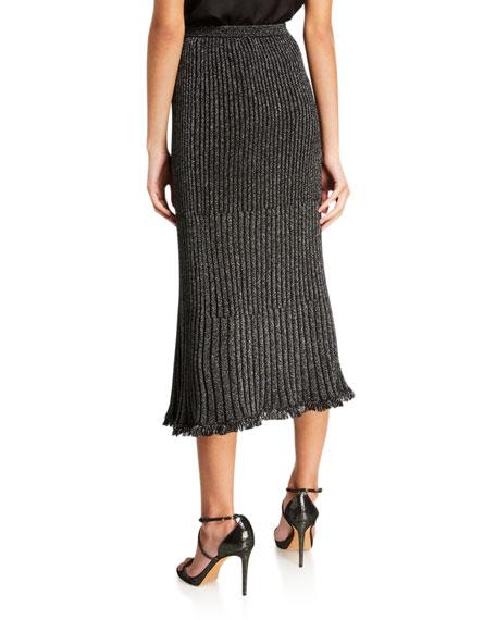 Brooklyn Metallic Faux-Wrap Midi Skirt