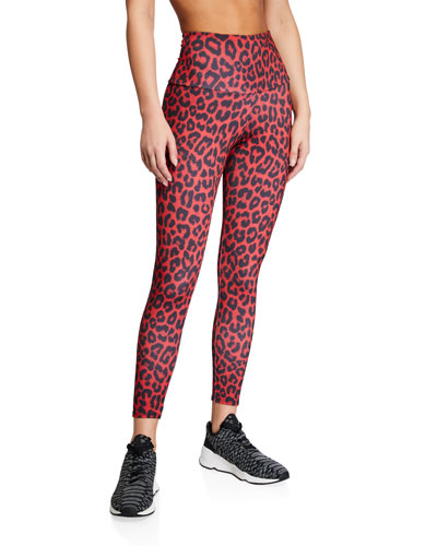 High Basic Midi Leopard Leggings