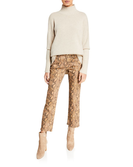Le High Straight Coated Python Jeans