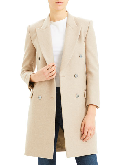 Tailored Double Breasted Wool Coat by Theory