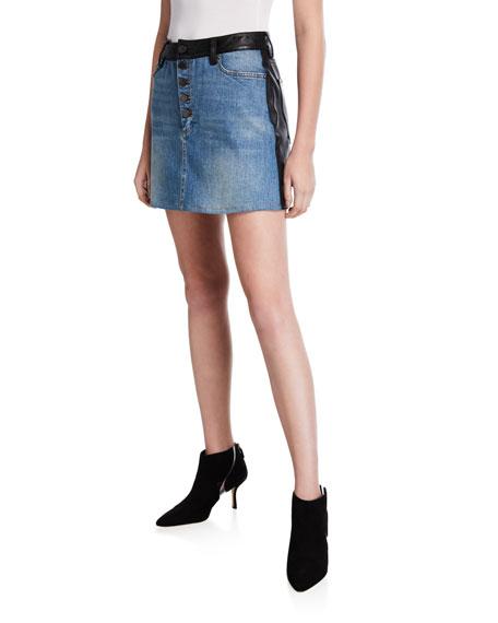 Leather/Denim Button Mini Skirt