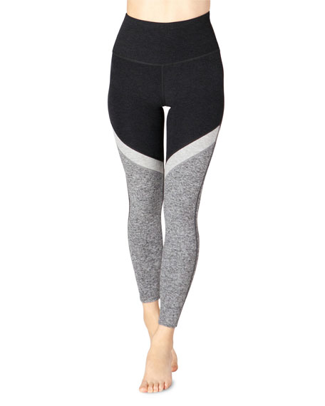 Image 1 of 1: Tri-Panel Space-Dye High-Waist Midi Leggings
