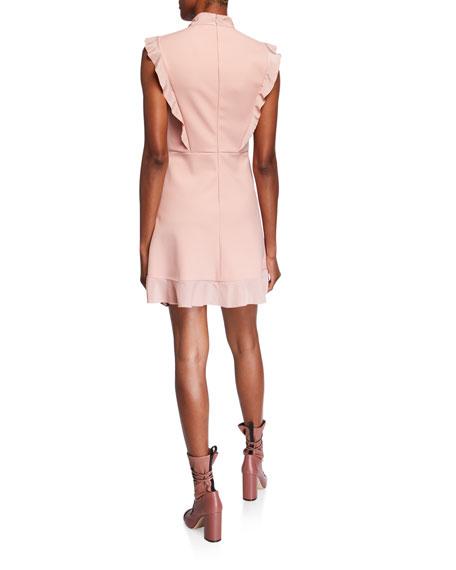 Tie-Neck Sleeveless Cady Tech & Crepe De Chine Dress