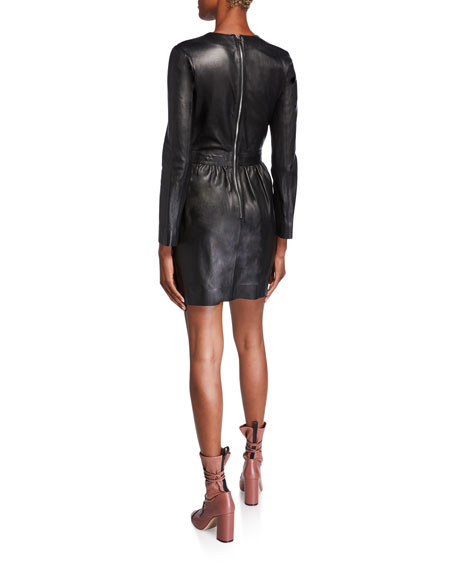 Long-Sleeve Bow-Waist Matte Tanned Leather Dress