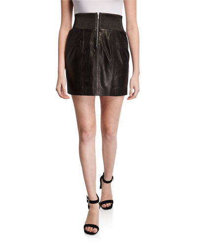 Leather Zip-Front Skirt