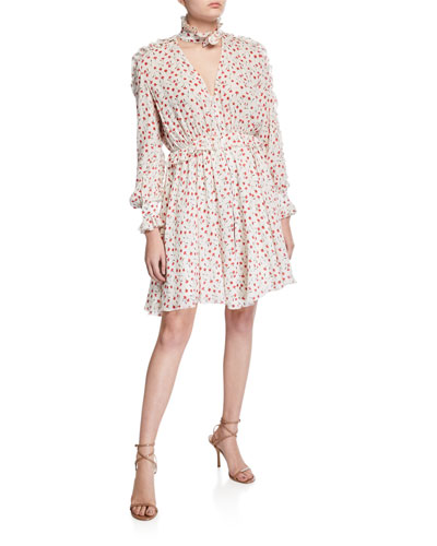 Mock-Neck Printed Ruffle Shirt Dress
