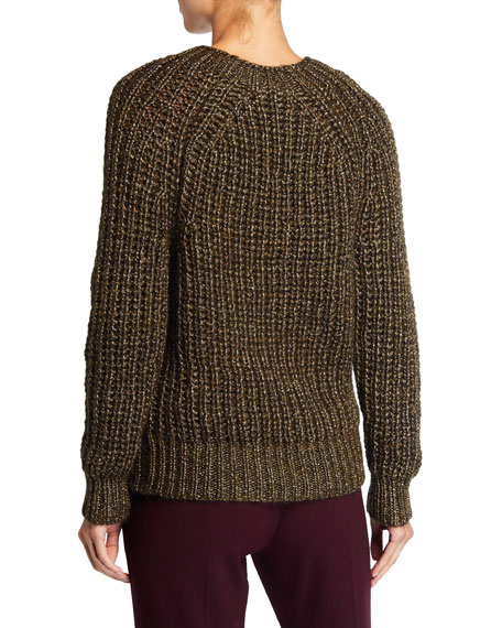 Shimmered Mohair Ribbed Sweater
