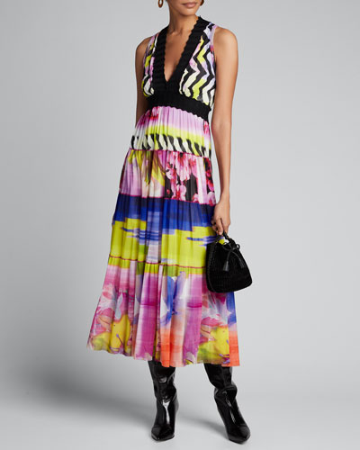 Printed V-Neck Sleeveless Scallop Trim Maxi Dress
