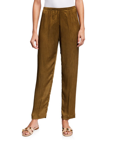 Chic Crepe Pants with Elastic Waist