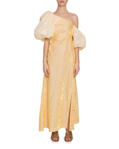 Nina Puff-Sleeve Metallic Long Dress