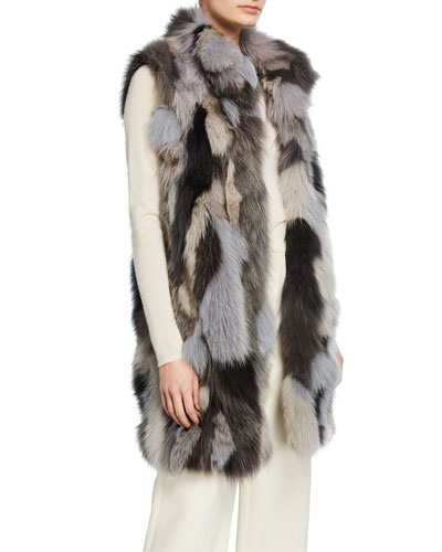 Long Patchwork Fur Vest