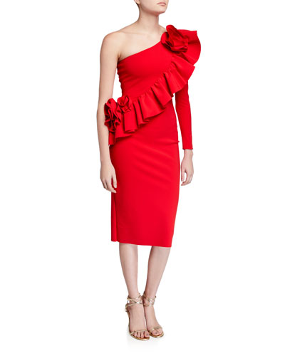 Asymmetric One-Shoulder Knee-Length Ruffle Cocktail Dress