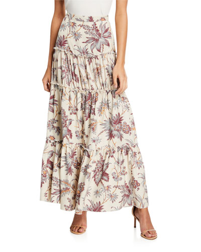 Avery Tiered Floral Maxi Skirt