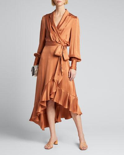 Silk Charmeuse Wrap Dress