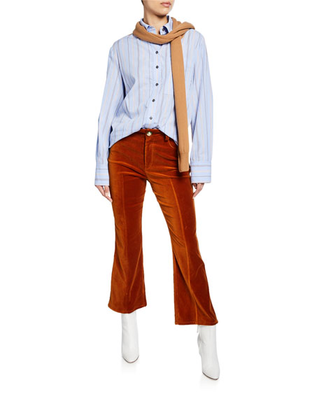 Cropped Flared Jean Trousers