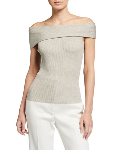 Metallic Off-Shoulder Pullover Sweater