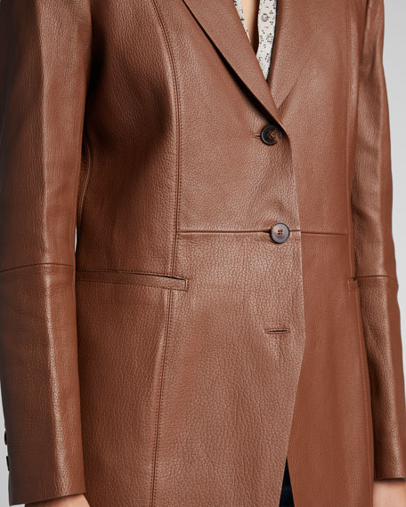 Jaqueline Lambskin Leather Blazer