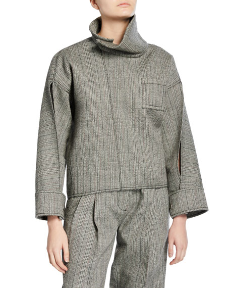 Tweed Zippered Blouse