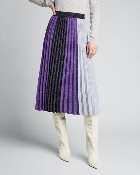 Colorblock Pleated Metallic Midi Skirt