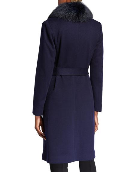 Fox Fur Shawl-Collar Wool Wrap Coat