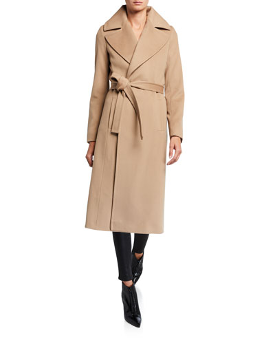 Notch-Collar Wool Wrap Coat