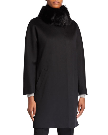 Fox Fur-Collar Wool Coat