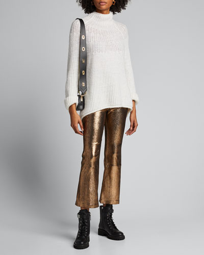 High-Waist Metallic Cropped Flare-Leg Leggings