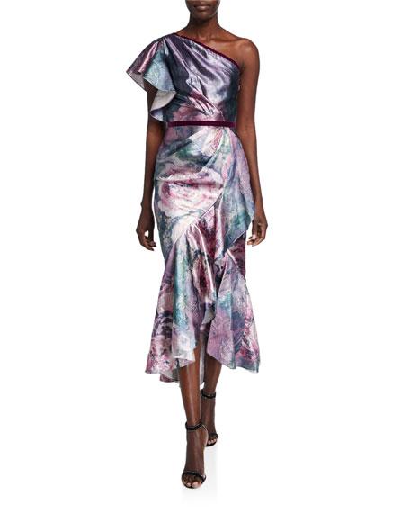 Metallic Jacquard One-Shoulder Tea Length Dress w/ Ruffle Detailing