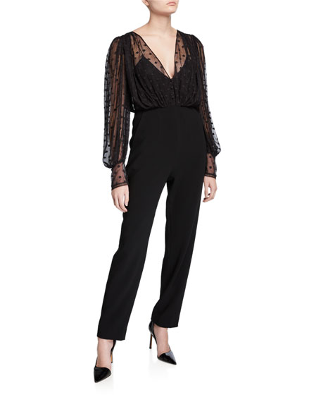Image 1 of 1: Bernadette Dotted Mesh Overlay Jumpsuit