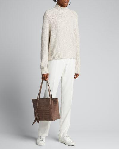 Textured Saddle Sleeve Turtleneck Wool Sweater