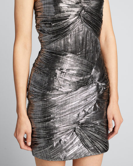 Frankie Metallic Plisse Cocktail Dress