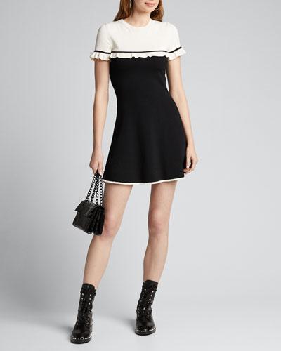 Colorblock Short-Sleeve Mini Knit Dress