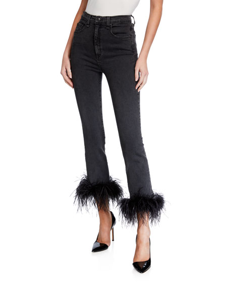 Image 1 of 1: Kareena High-Rise Skinny Jeans w/ Feathers