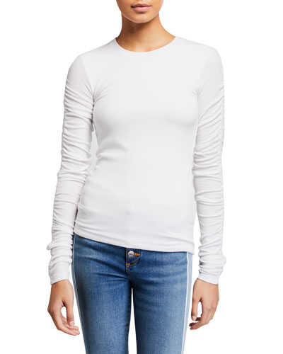 Clement Ruched Long-Sleeve Top