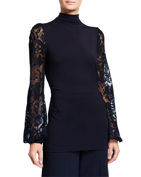 Johana Sheer Embroidered Sleeve Turtleneck Sweater