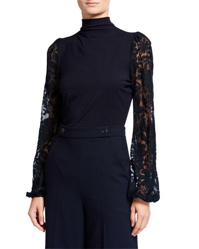 Johana Sheer Embroidered Sleeve Turtleneck Sweater
