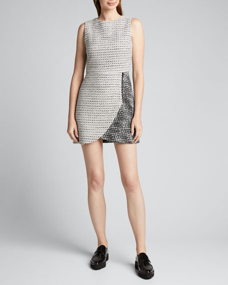 Sally Side-Zip Tweed Mini Dress