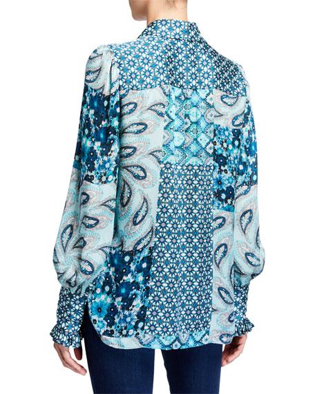 Beck Mixed Print Button-Down Silk Shirt
