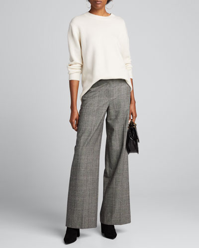 Plaid Wide-Leg Trousers