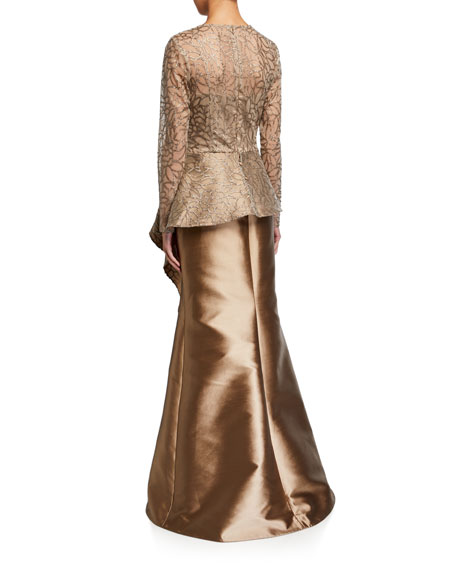 Sequin Leaf Pattern Tulle Peplum Top w/ Gazar Skirt Gown