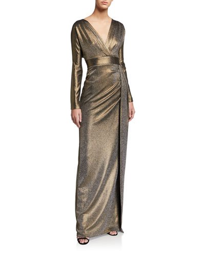 Draped Metallic V-Neck Long-Sleeve Column Gown