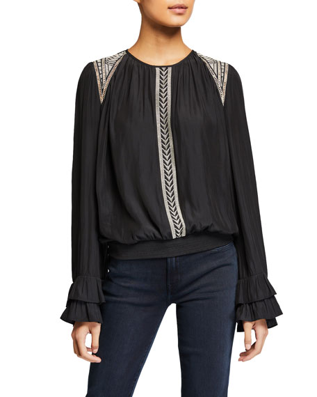 Thora Embroidered Long-Sleeve Blouse