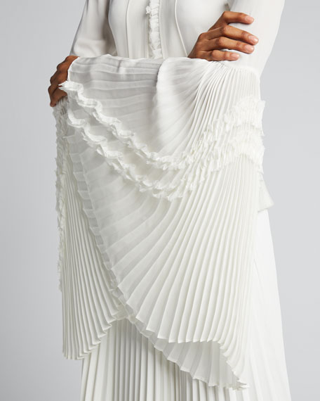Sorrenta Tie-Neck Top with Pleated Sleeves
