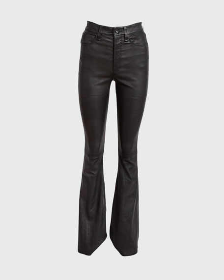 Jane Super High-Rise Flare-Leg Leather Pants